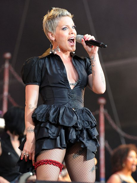 Pink performing live on stage