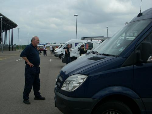 Vans being checked