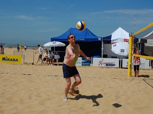 James Heming learns volleyball