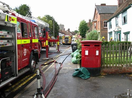 Firefighters tackling the fire in Staplehurst