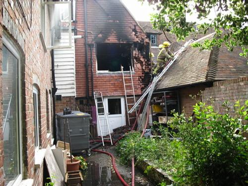Damage caused by the fire in Staplehurst