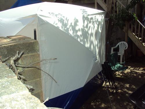 Tent over cellar in Peter Tobin garden