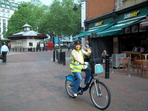 Harriet out and about in London on a Boris bike
