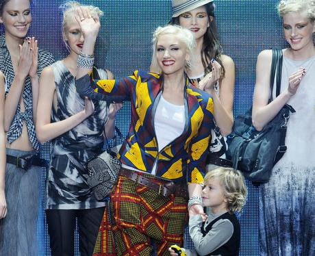 Gwen Stefani on the runway with lamb