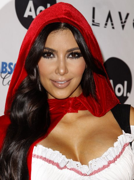 Kim Kardashian in little red riding hood Halloween costume