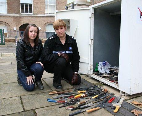 young campaigner Holly Watson at knife bin