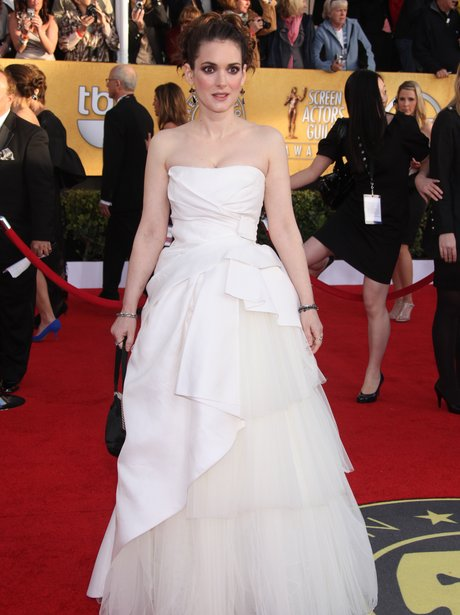 Winona Ryder in a white dress at the SAG awards