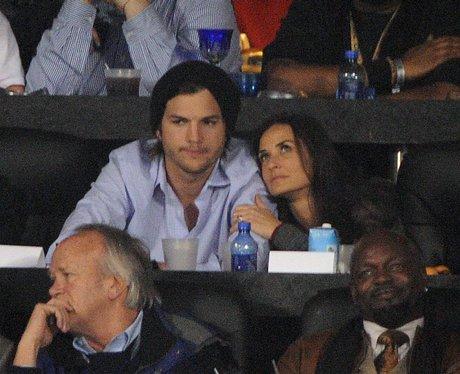 Ashton Kutcher and Demi Moore at the Super Bowl XL