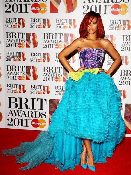 Rihanna arriving for the 2011 Brit Awards