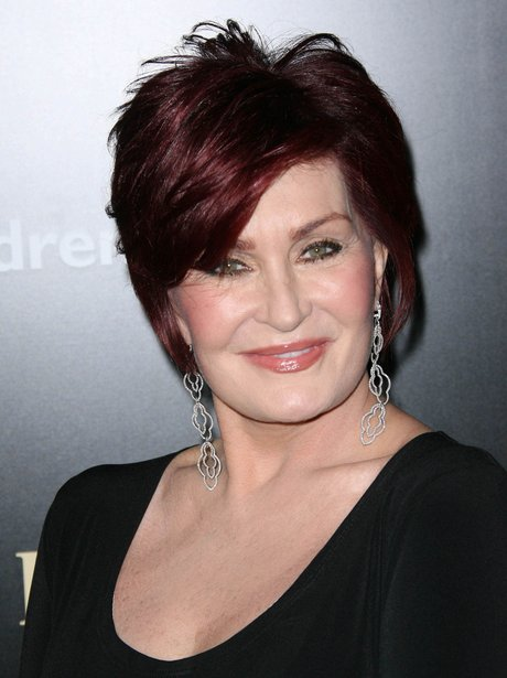Sharon Osbourne with short red hair
