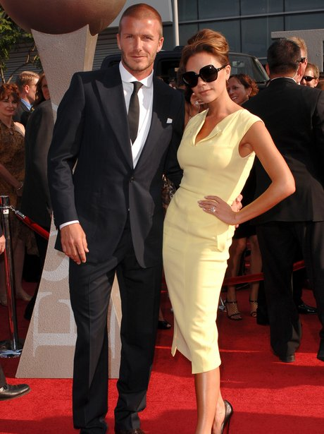 David and Victoria Beckham at the red carpet