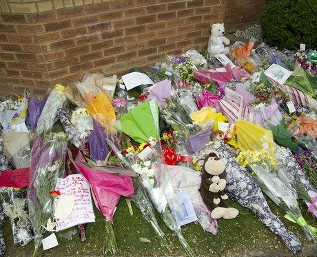 Flowers left outside the Ding's house