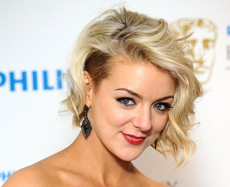 Sheridan Smith with short blonde hair