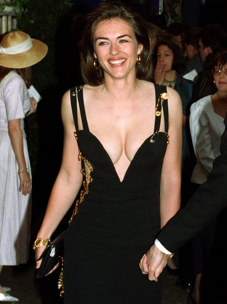 liz hurley in the safety pin versace dress