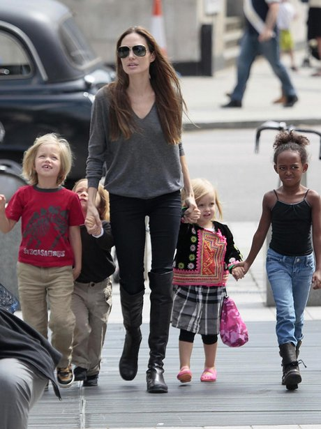 Angelina Jolie and kids in London