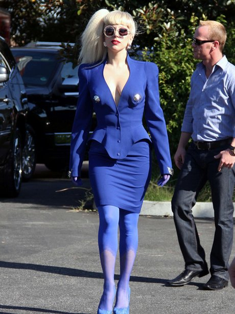 Lady Gaga pictured leaving an interview in LA