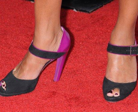 black and purple sandals