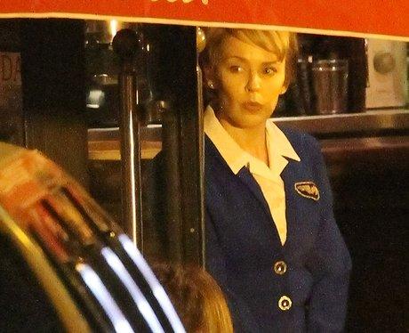 Kylie Minogue on set