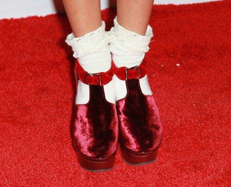 red velvet shoes and socks