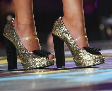 Mollie King's sparkly peep-toes.
