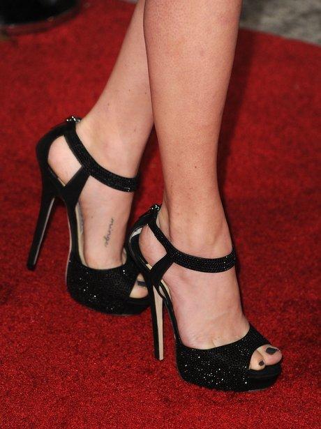 black peep-toe shoes