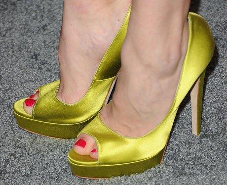 Acid yellow satin peep-toes worn by Gillian Jacobs
