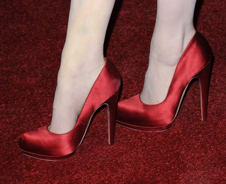 red satin shoes