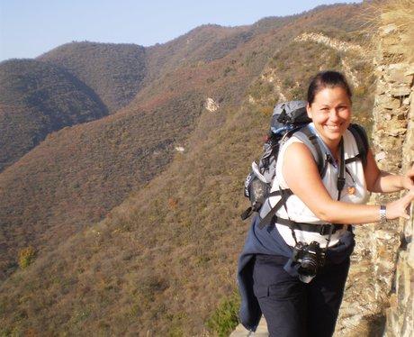 China Trekker watching her footing