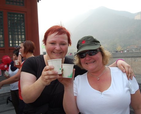 China Trekkers well deserved drink