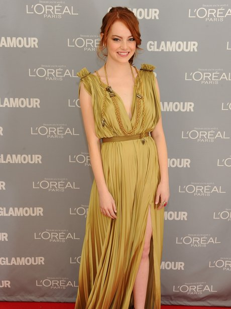 Emma Stone in olive