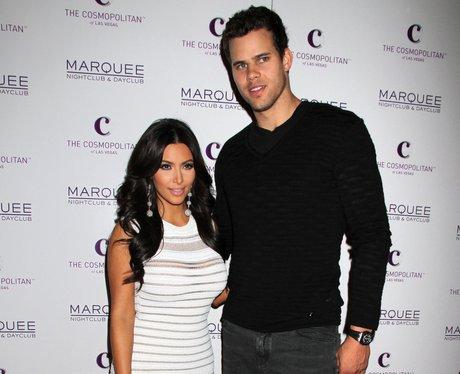 Kim Kardashian and Kris Humphries pose for a photograph.