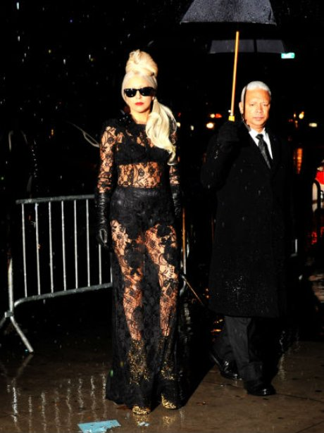 Lady Gaga wears see-through lace dress in New York