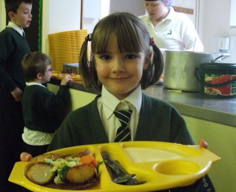 School Girl Happy With her Pub Lunch