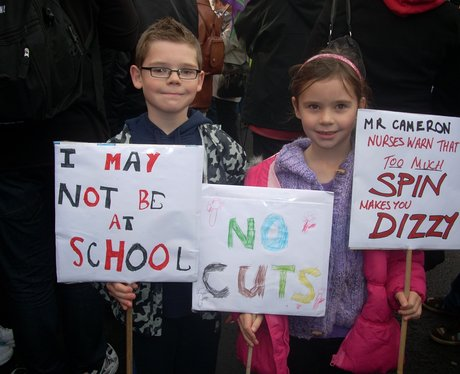 Families took part in the march over pensions row