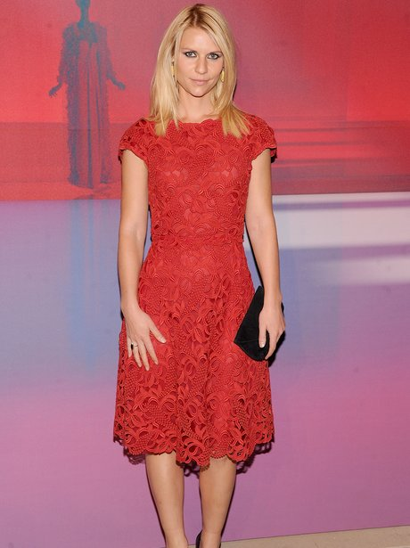 Claire Danes in a red dress