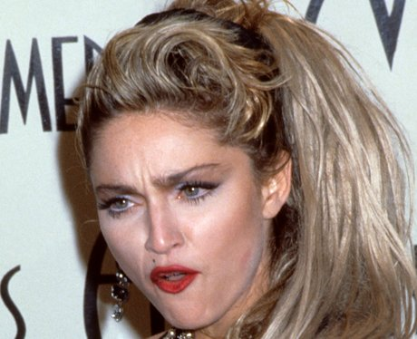 Madonna pulling a funny face