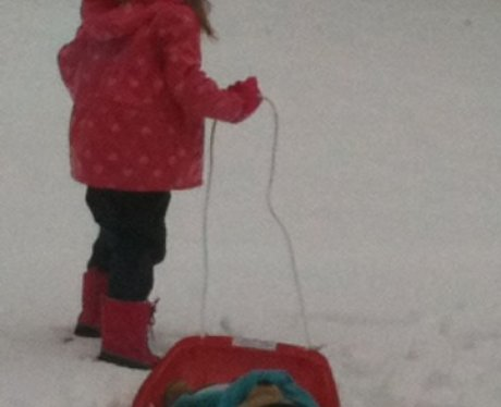 Ellie in Hartwell with her sledge