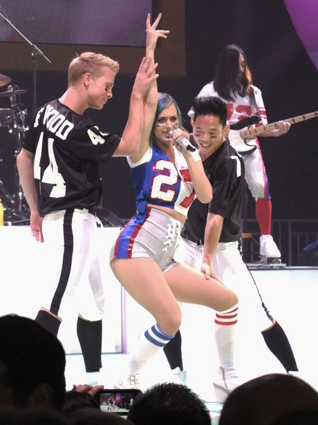 Katy Perry performs at the Directv Super Bowl part