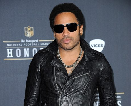 Lenny Kravitz in a black leather jacket and sunglasses