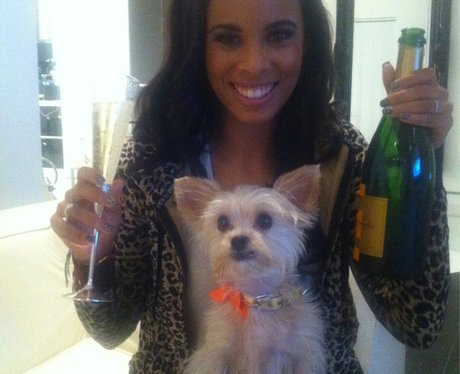 Rochelle Wiseman celebrating with her dog