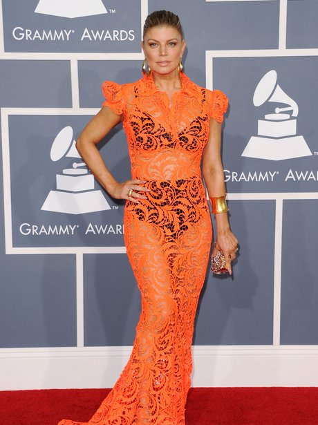 Fergie on the red carpet at Grammy Awards 2012