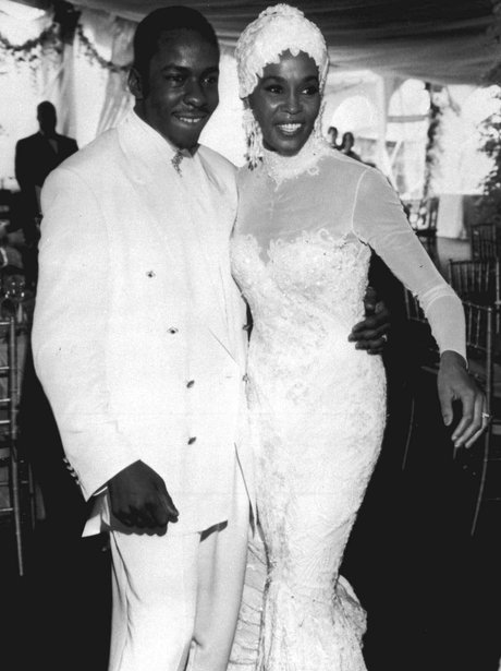 Whitney Houston on her wedding day with Bobby Brow