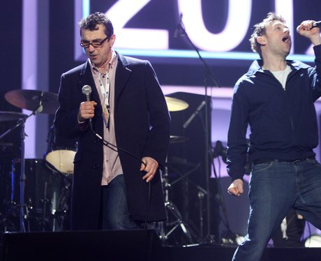 Blur perform during rehearsal at the BRIT Awards 2