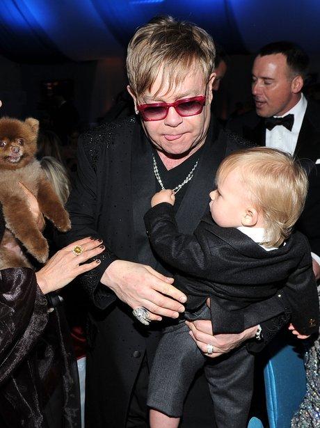 Elton John holding son Zachary