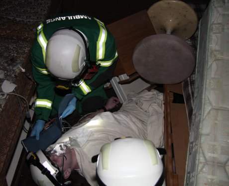 Treating a casualty in a collapsed building