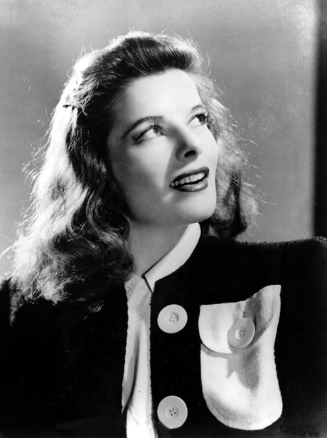 Katharine Hepburn in a black and white photo