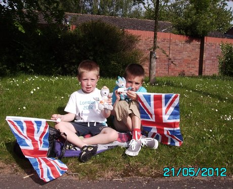 """My boys waiting in Taunton for the Torch"""