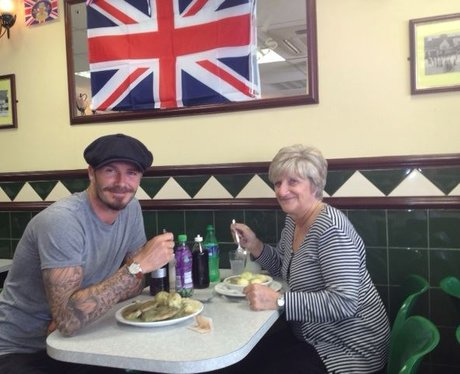 David Beckham and his mother