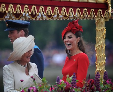 The Duchess of Cambridge and the Duchess of Cornwall laugh