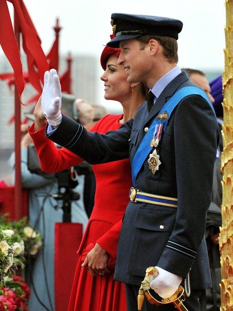 The Duke and Duchess of Cambridge wave